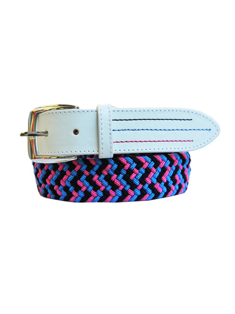 Bunker Mentality Braided Stretch Zig Zag White Pink mens Golf Belt