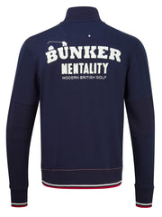 Bunker Mentality Navy full zip mens layer golf top with bunker mentality logo on back