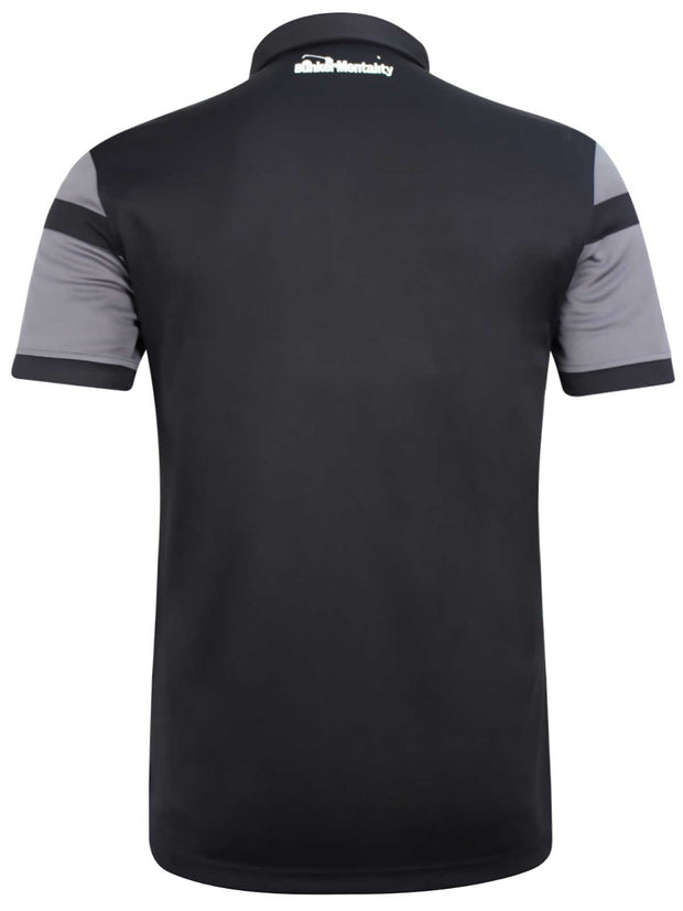Bunker Mentality Cmax Grey Golf Shirt with Black and Yellow Stripes - Back