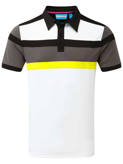 Cmax Bright Stripe Golf Polo Shirt - Grey