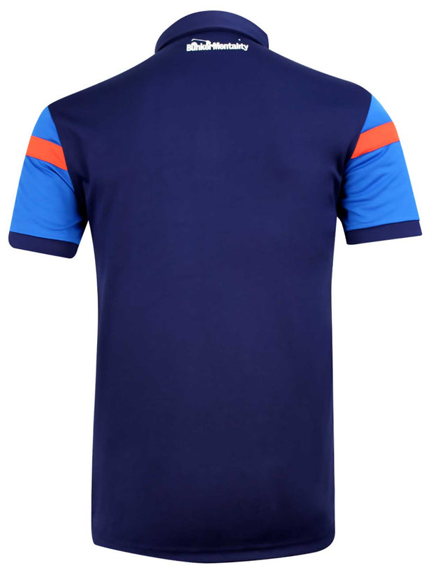 Bunker Mentality Cmax Navy Golf Shirt with Blue and Orange Stripes - Back