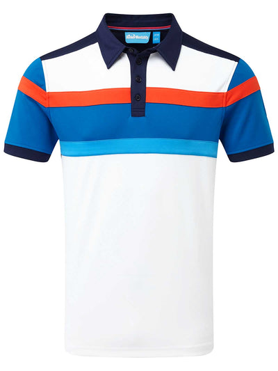 Cmax Bright Stripe  Golf Polo Shirt - Navy