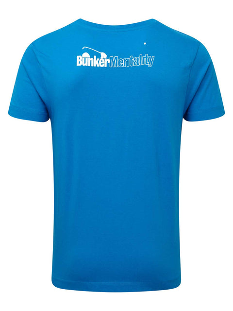 Bunker Mentality Bun-Ker Graphic Print Blue Cotton Golf T-Shirt - Back