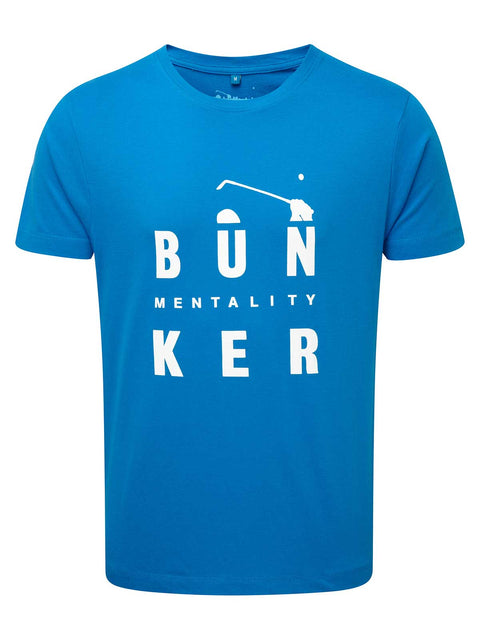 Bunker Mentality Bun-Ker Graphic Print Blue Cotton Golf T-Shirt - Front