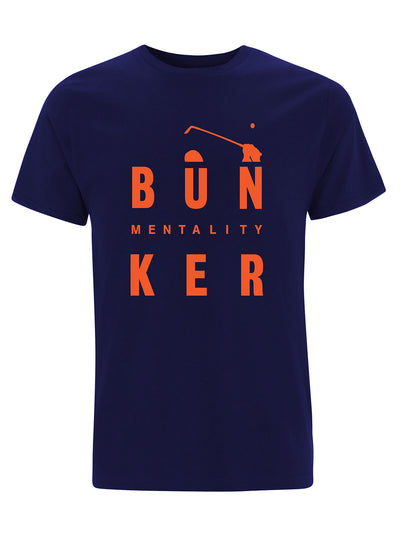 Bunker Mentality Bun-Ker Graphic Print Navy Cotton Golf T Shirt