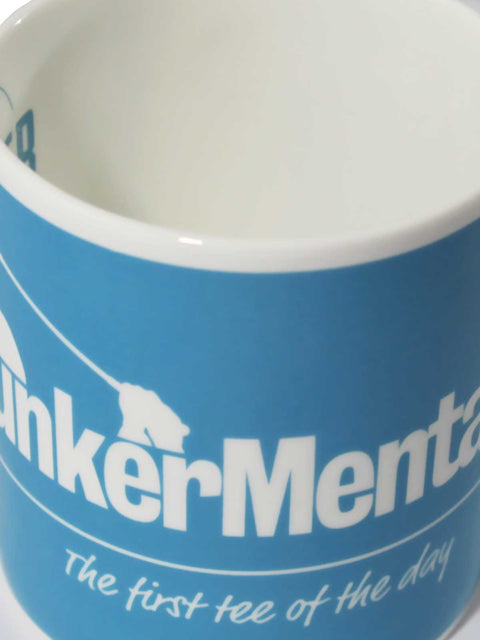 Bunker Mentality First Tee of the Day Blue China Mug Close up