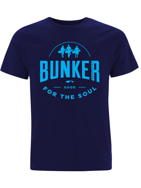 Bunker Mentality Good For The Soul graphic Print Navy Blue Mens Golf T-Shirt - Front