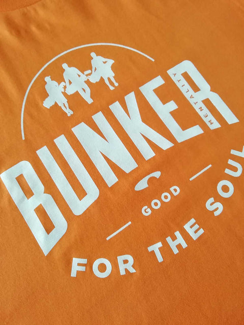 Bunker Mentality Good For The Soul graphic Print Blue Mens Golf T-Shirt - Close Up