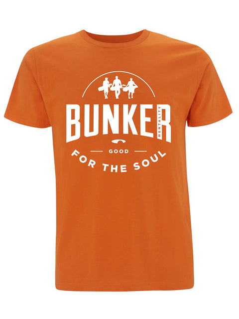 Bunker Mentality Good For The Soul graphic Print Orange Mens Golf T-Shirt - Front