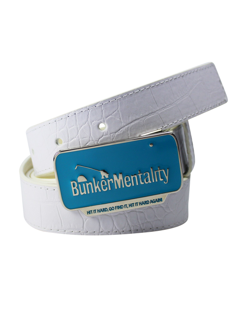 Bunker Mentality Mens Golf Belts with White Leather Golf Strap with Blue Metal Buckle