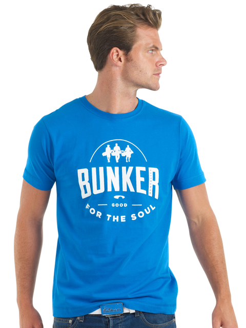 Bunker Mentality Good For The Soul graphic Print Blue Mens Golf T-Shirt - model