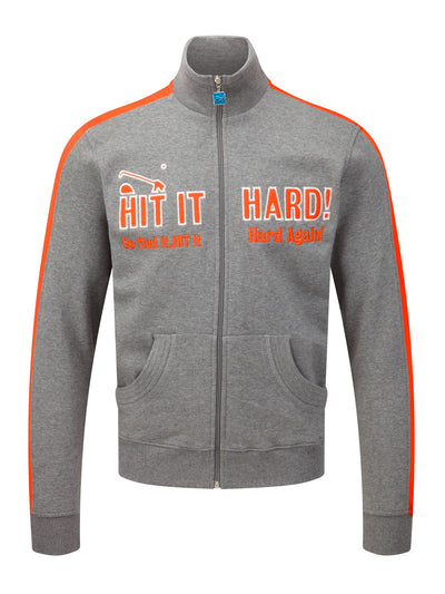 Bunker Mentality grey full zip mens golf lifestyle top with hit it hard in orange - front