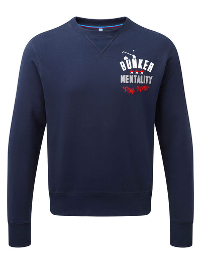 Bunker Mentality branded navy blue mens golf lifestyle sweatshirt