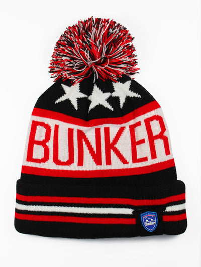 Bunker Mentality Logo Stars and Stripes Bobble Hat Black Red White