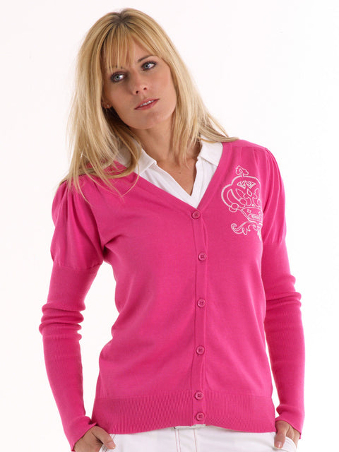 Queen of the Green Pink V Neck Cotton Golf Cardigan with Logo on chest