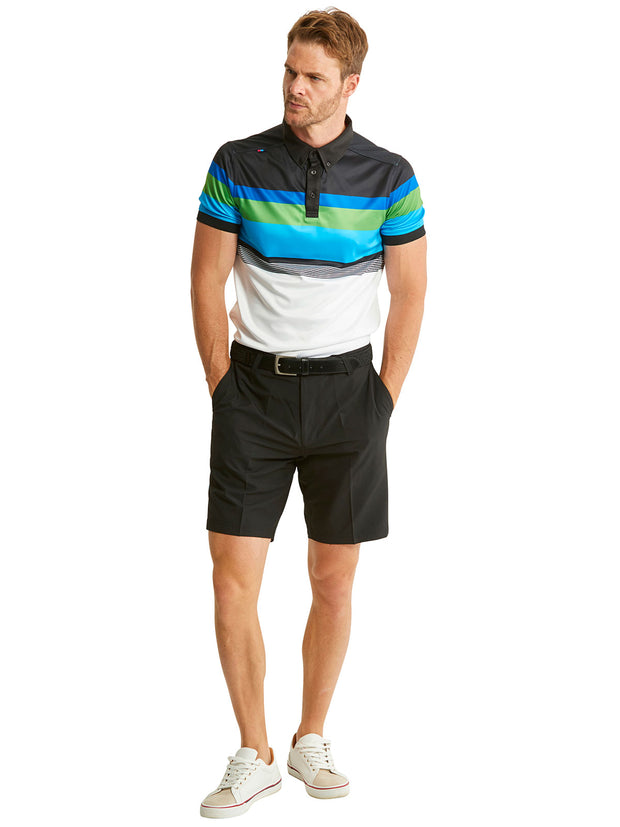 Bunker Mentality Cmax White Black Blue Stripe Mens Golf Shirt with Black Golf Shorts