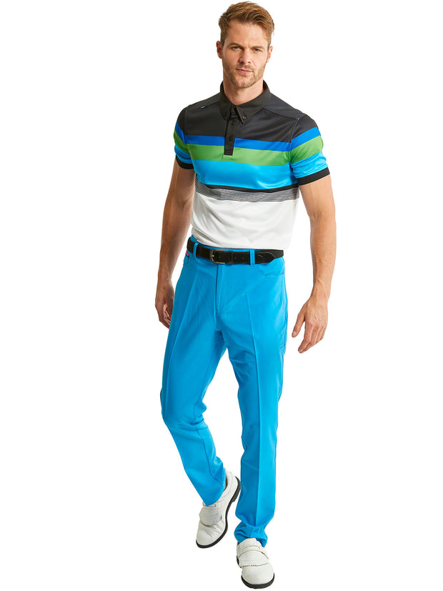 Bunker Mentality Cmax White Black Blue Stripe Mens Golf Shirt with Blue Golf Trousers