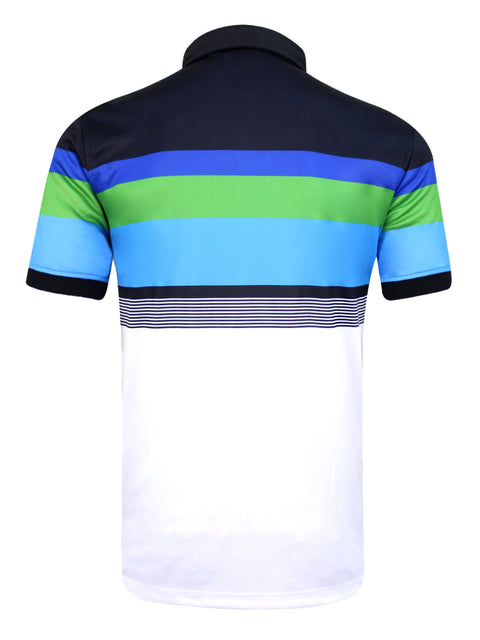 Bunker Mentality Cmax White Black Blue Stripe Mens Golf Shirt - Back