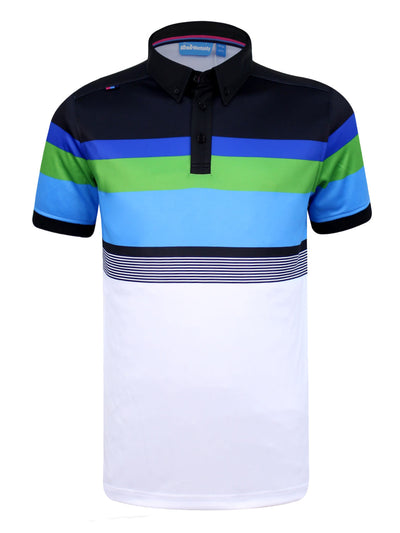 Bunker Mentality Cmax White Black Blue Stripe Mens Golf Shirt