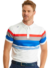 Bunker Mentality Cmax Chase Stripe White Mens Golf Polo Shirt