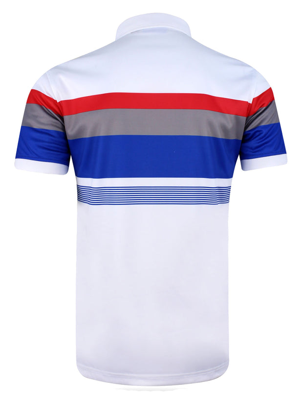 Bunker Mentality Cmax Chase Stripe White Mens Golf Polo Shirt - Back