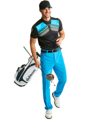 Bunker Mentality Cmax Black Mens Golf Polo Shirt with Blue Golf Trousers