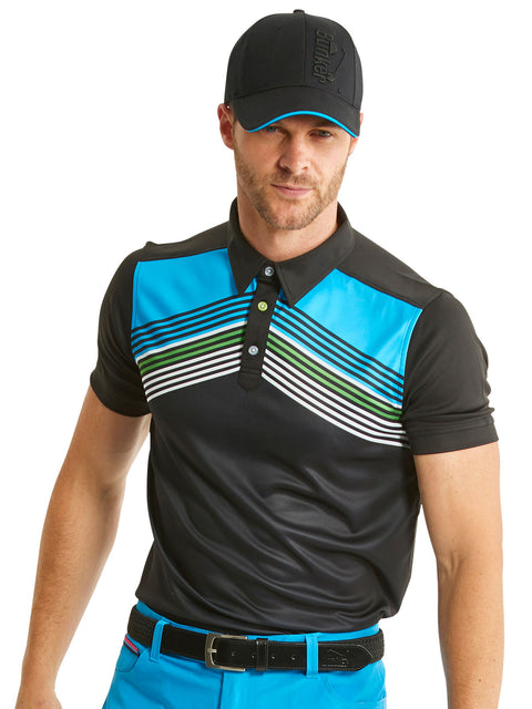 Bunker Mentality Cmax Black Mens Golf Polo Shirt with Blue White Chevron Print - Model