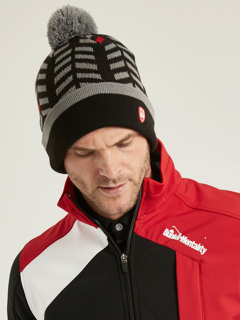 Bunker Mentality Black Winter Bobble Hat with Gray Chevron Pattern and Grey Bobble - Close Up