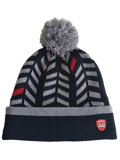 Bunker Mentality Black Winter Bobble Hat with Gray Chevron Pattern and Grey Bobble - Front