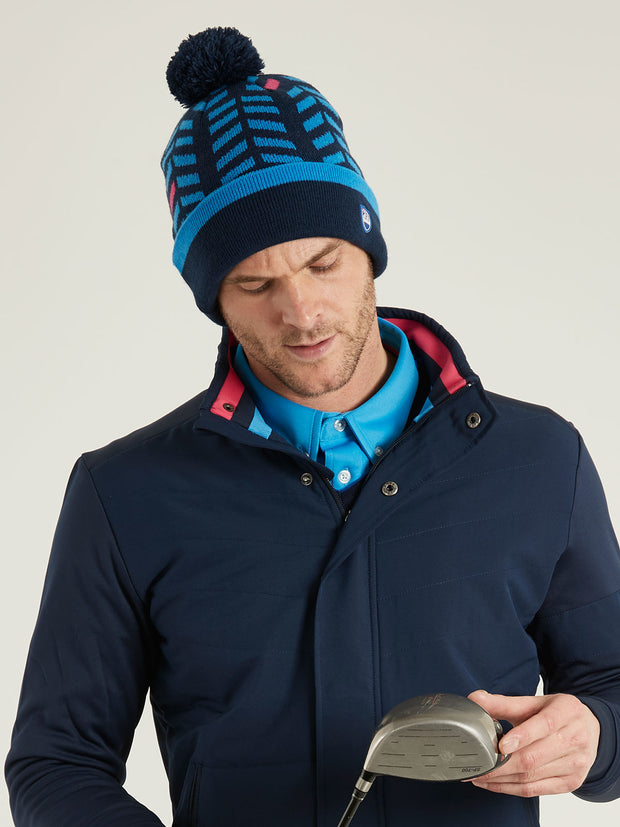 Bunker Mentality Navy Bobble Hat with Blue Chevron Pattern and Navy Bobble - Model