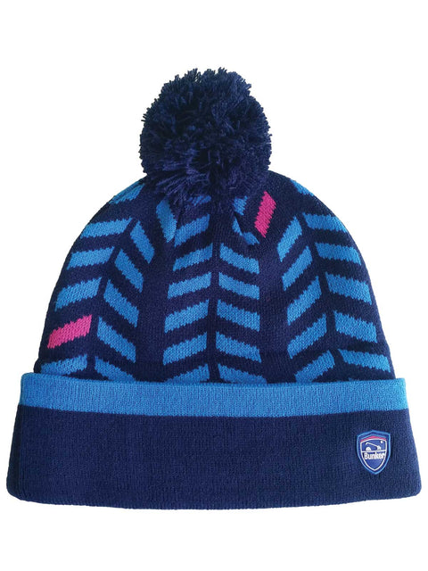 Bunker Mentality Navy Bobble Hat with Blue Chevron Pattern and Navy Bobble - Front