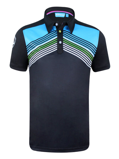 Bunker Mentality Cmax Black Mens Golf Polo Shirt with Blue White Chevron Print - Front
