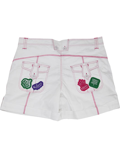 Queen of the Green White Womens Golf Shorts - Back