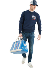Bunker Mentality branded navy blue mens golf lifestyle sweatshirt - On Model wearing Jeans