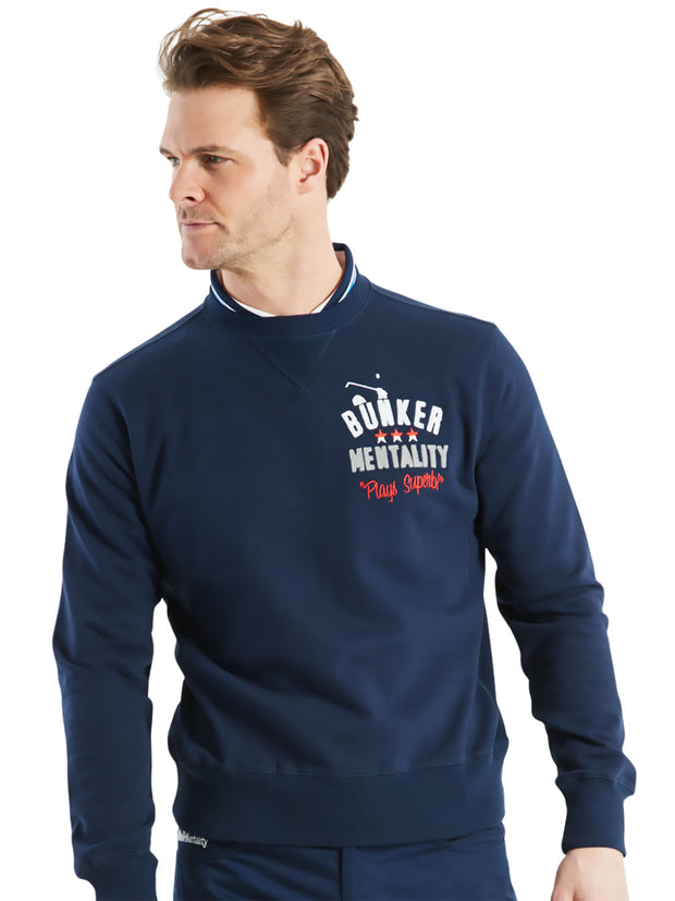 Bunker Mentality branded navy blue mens golf lifestyle sweatshirt - On Jamie