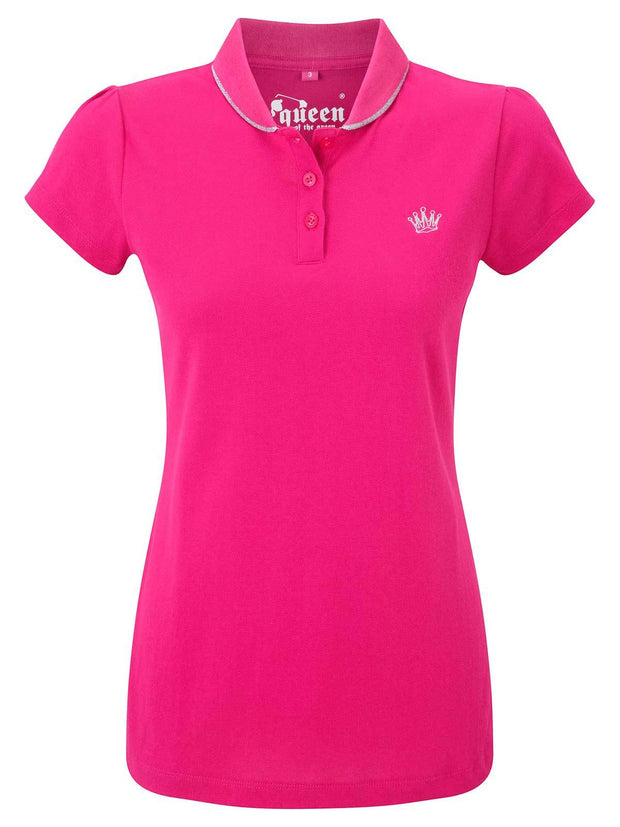 Bunker Mentality Pink Ladies Golf Polo Shirt with small silver embroidered Crown on Chest - Front