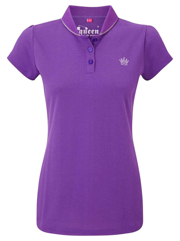 Bunker Mentality Purple Ladies Golf Polo Shirt with small silver embroidered Crown on Chest - Front