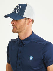 Bunker Mentality Bun-Ker Denim Trucker Golf Cap Navy White Mesh Snapback Side - Model