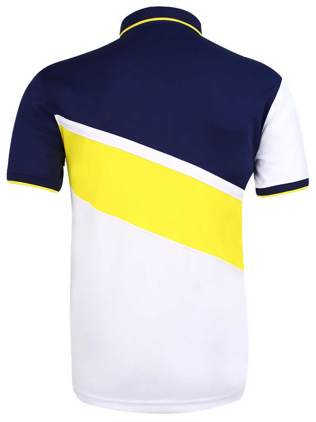 Bunker Mentality Cmax White Navy Mens Golf Shirt Yellow Diagonal Stripe - Back