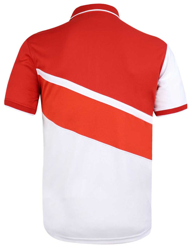 Bunker Mentality cmax White Golf Shirt with Red Diagonal Stripes - Back
