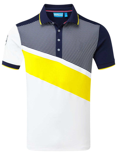 Cmax Diagonal Colour Block Golf Shirt - Navy