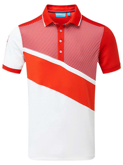 Cmax Diagonal Colour Block Golf Polo Shirt - Red