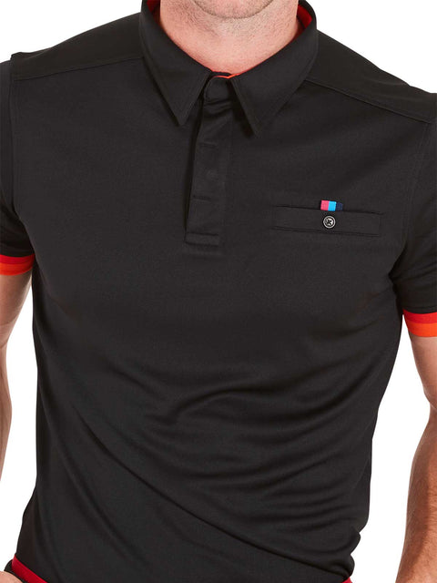 Bunker Mentality Cmax Black Mens Golf Shirt with contrast orange and red tipping - Close