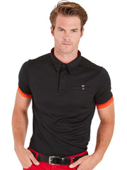 Bunker Mentality Cmax Black Mens Golf Shirt with contrast orange and red tipping - Model