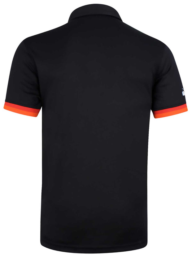 Bunker Mentality Cmax Black Mens Golf Shirt with contrast orange and red tipping - Back