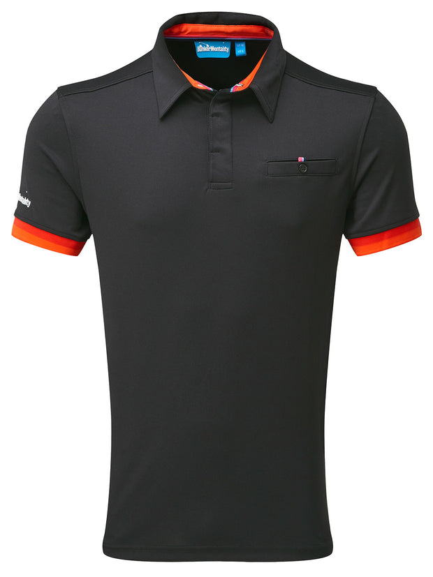 Bunker Mentality Cmax Black Mens Golf Shirt with contrast orange and red tipping - Front