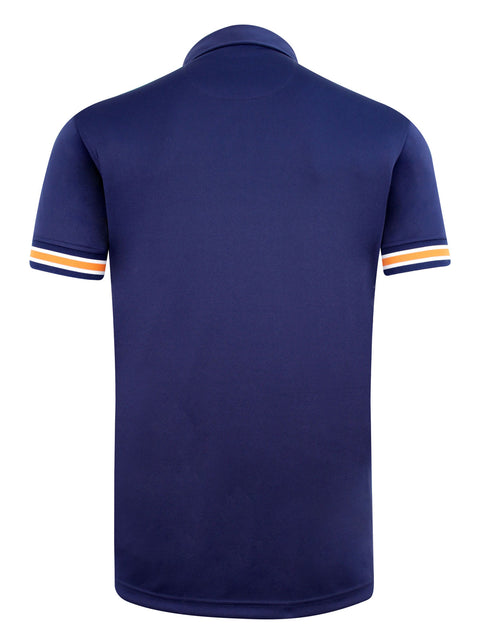 Bunker Mentality Cmax Navy Mens Golf Shirt with contrast orange and White tipping - Back