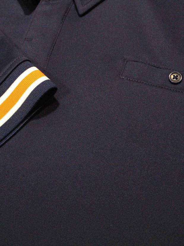 Bunker Mentality Cmax Navy Mens Golf Shirt with contrast orange and White tipping - Close Up