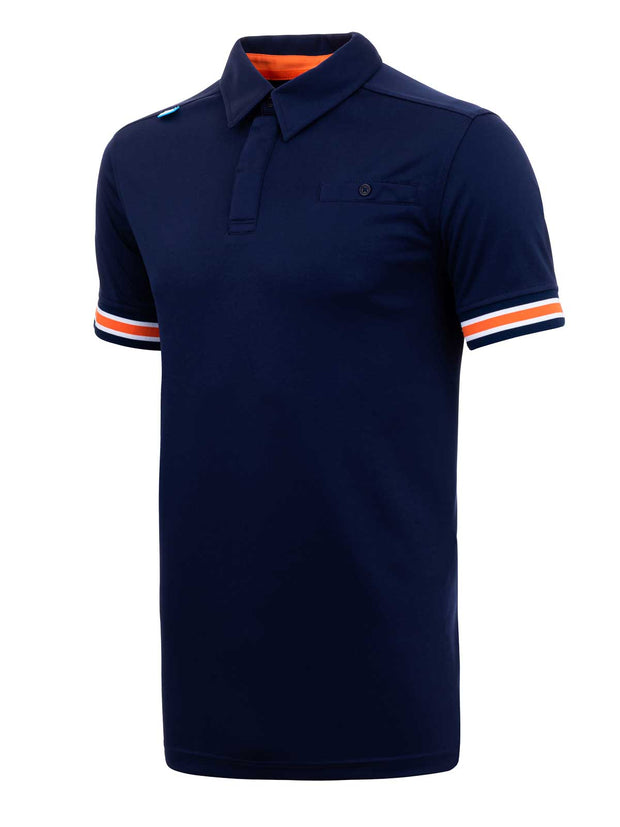 Bunker Mentality Cmax Navy Mens Golf Shirt with contrast orange and White tipping - Side