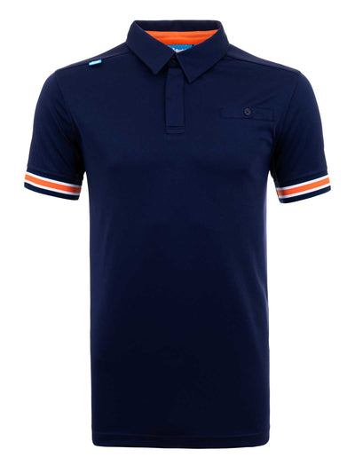 Bunker Mentality Cmax Navy Mens Golf Shirt with contrast orange and White tipping - Front